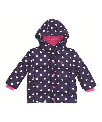 Navy Polka Dot Puffer Coat - Infant, Toddler & Girls
