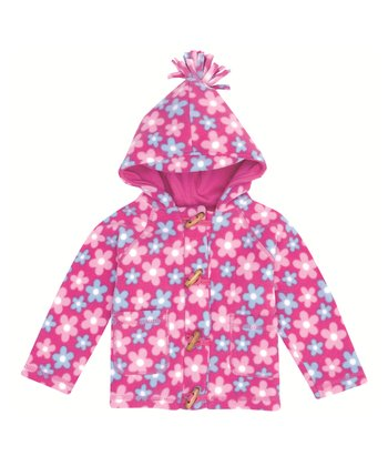 Pink Daisy Polar Fleece Toggle Coat - Infant, Toddler & Girls