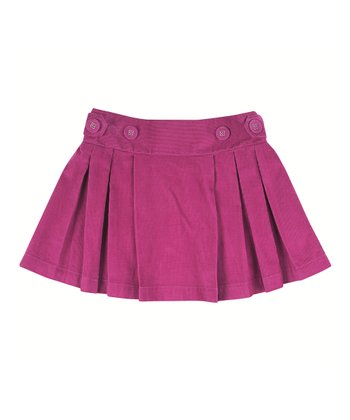 Raspberry Corduroy Pleated Skirt - Infant, Toddler & Girls