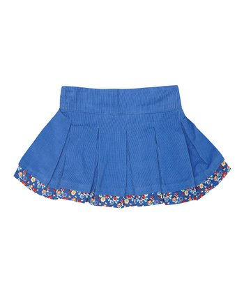 Blue Corduroy Pleated Skirt - Infant, Toddler & Girls