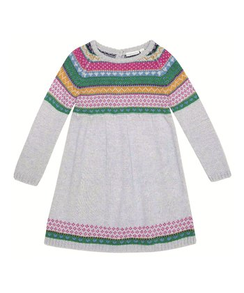 Gray Fair Isle Sweater Dress - Infant, Toddler & Girls