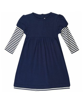 Navy Layered A-Line Dress - Infant, Toddler & Girls