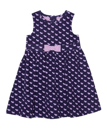 Navy Scottie Dog A-Line Dress - Infant, Toddler & Girls