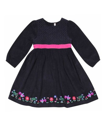 Navy Floral Party A-Line Dress - Infant, Toddler & Girls