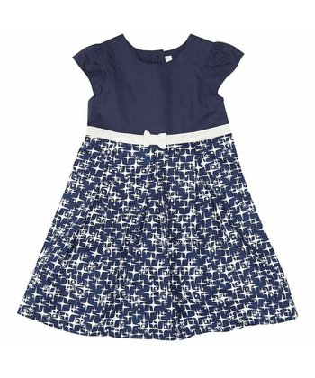 Navy Stars Party A-Line Dress - Infant, Toddler & Girls
