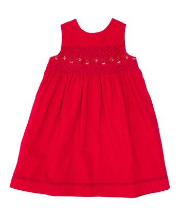 Berry Corduroy Smocked Sleeveless Dress - Infant, Toddler & Girls