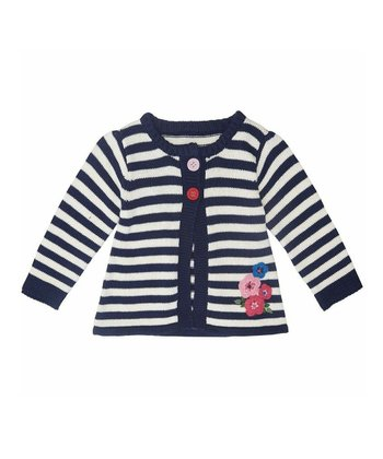 Navy Stripe Flower Cardigan - Infant, Toddler & Girls