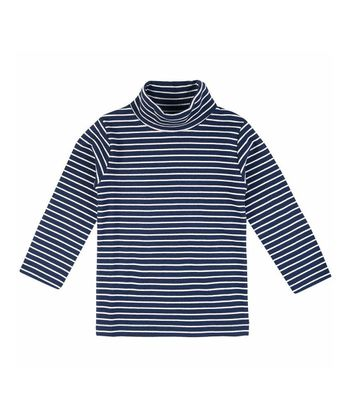 Navy & Cream Stripe Turtleneck - Infant, Toddler & Girls