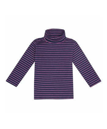 Navy & Fuchsia Stripe Turtleneck - Infant, Toddler & Girls