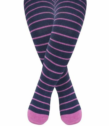 Navy & Fuchsia Stripe Breton Tights - Infant, Toddler & Girls