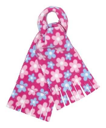 Pink Daisy Polar Fleece Scarf