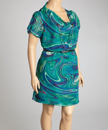 Blue Watercolor Belted Drape Dress - Plus