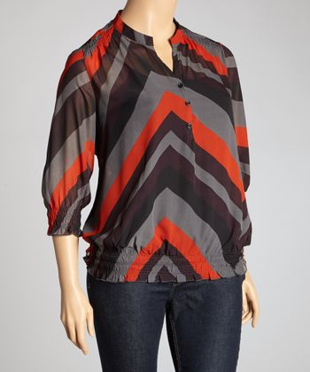 Gray & Red Zigzag Three-Quarter Sleeve Top - Plus