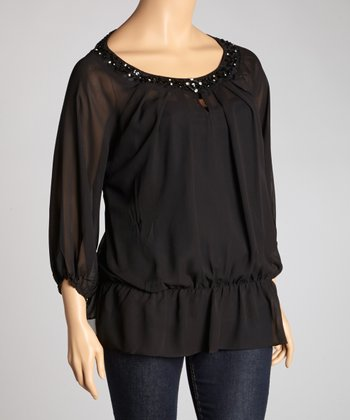 Black Sheer Three-Quarter Sleeve Top - Plus
