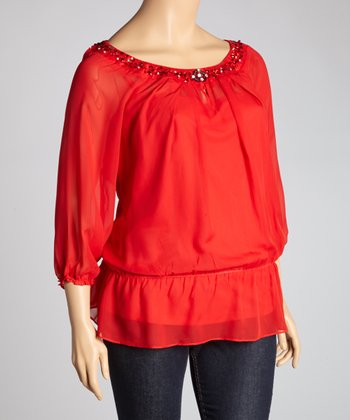 Red Sheer Three-Quarter Sleeve Top - Plus