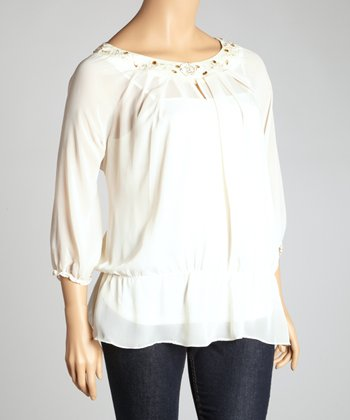 White Sheer Three-Quarter Sleeve Top - Plus