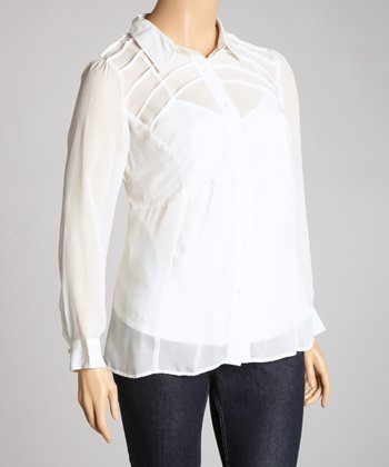 Ivory Sheer Button-Up - Plus