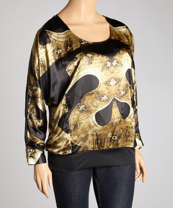 Black & Olive Snakeskin Dolman Top - Plus