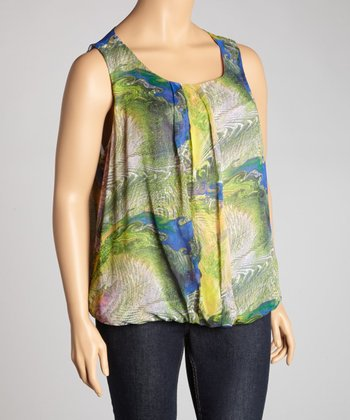 Lilac & Green Peacock Sleeveless Top - Plus