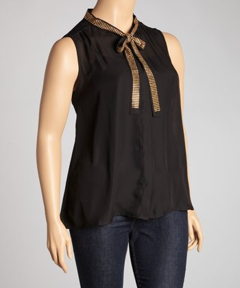 Black & Gold Sheer Sleeveless Top - Plus