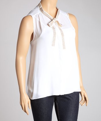 White & Gold Sheer Sleeveless Top - Plus