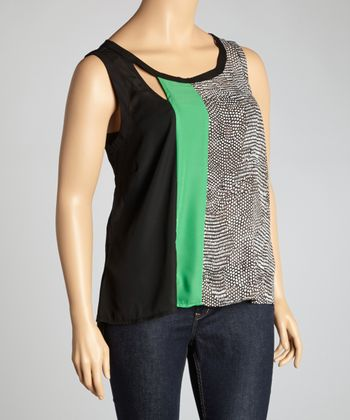 Black & Green Snakeskin Sleeveless Cutout Top - Plus
