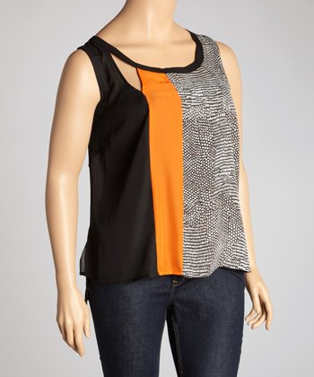 Black & Orange Snakeskin Sleeveless Cutout Top - Plus