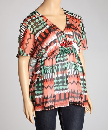 Green & Red Sheer Surplice Top - Plus
