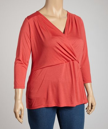 Jones NY Persimmon Faux Wrap Top - Plus