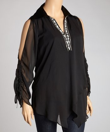 Black Semi-Sheer V-Neck Cutout Top - Plus