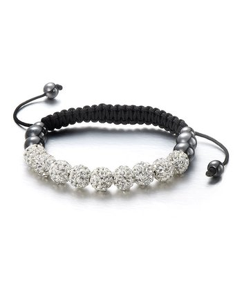 Black Crystal Frosted Friendship Bracelet