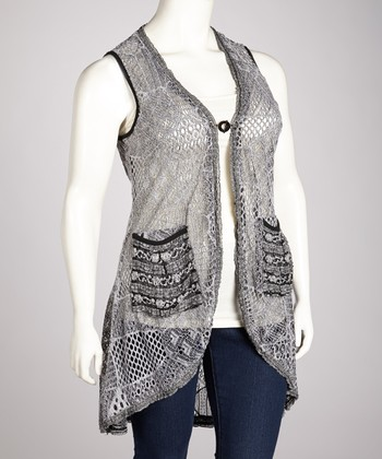 Gray & Black Lace Patchwork Vest - Plus