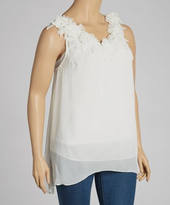 Ivory Ruffle Sleeveless Top - Plus