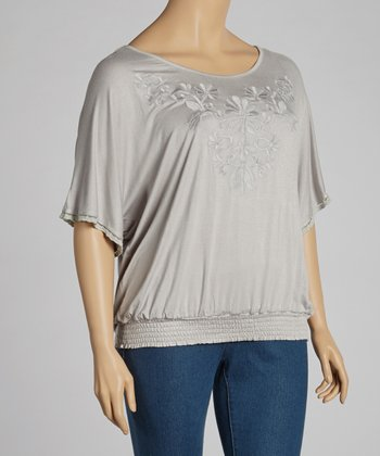 Silver Shirred Top - Plus