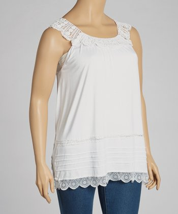 Ivory Lace Sleeveless Top - Plus