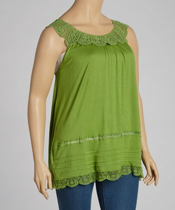 Green Lace Sleeveless Top - Plus