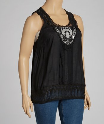 Black Embroidered Tank - Plus