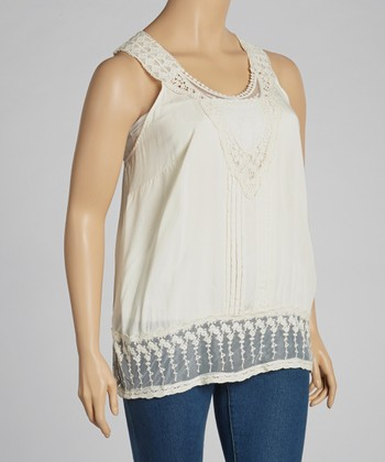 Ivory Embroidered Tank - Plus