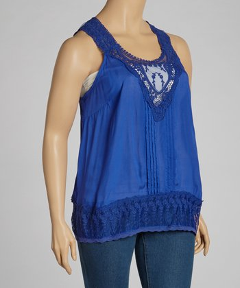 Lapis Embroidered Tank - Plus