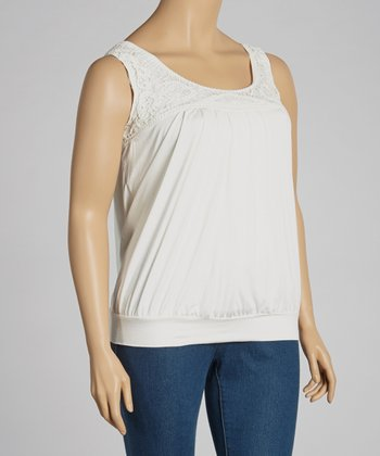 Ivory Crocheted Banded Tank - Plus