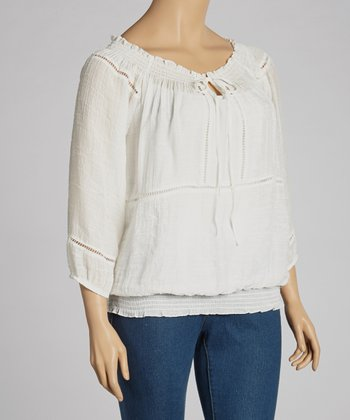 Ivory Peasant Tunic - Plus