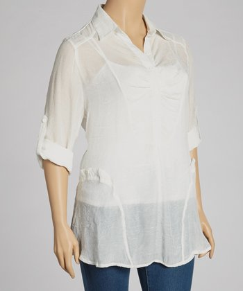 Ivory Sheer Henley Tunic - Plus