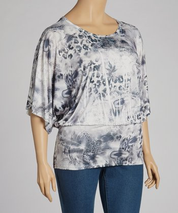 Black & Blue Sublimation Dolman Top - Plus