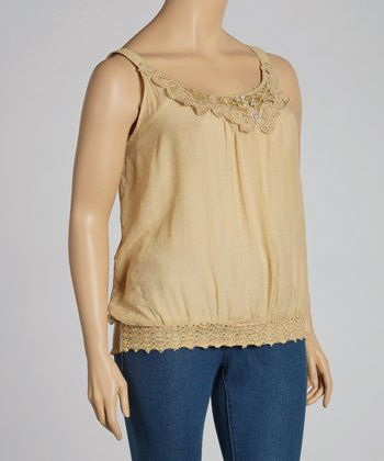 Taupe Lace Crocheted Tank - Plus