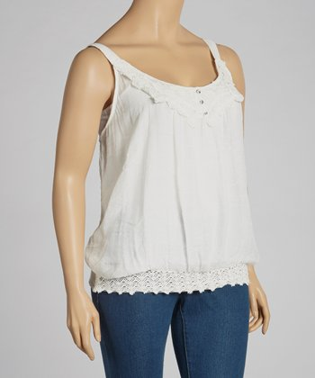 Ivory Lace Crocheted Tank - Plus