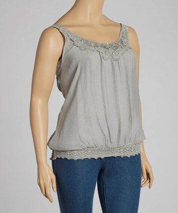 Silver Lace Crocheted Tank - Plus