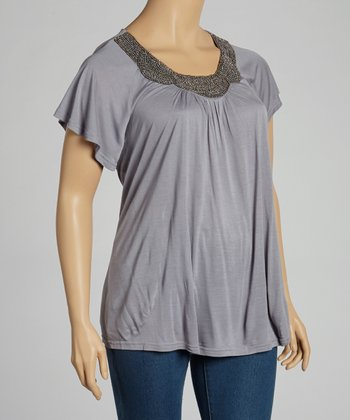 Gray Beaded Top - Plus