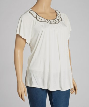 Ivory Beaded Top - Plus