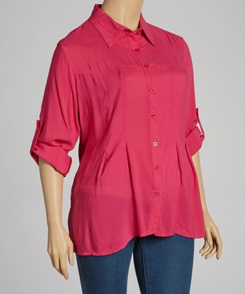 Berry Button-Up Top - Plus