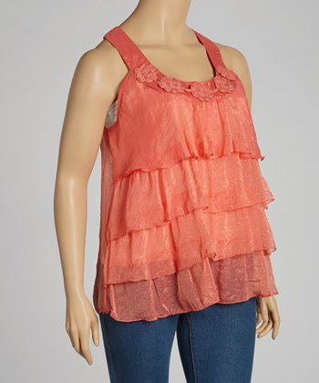 Coral Lace Crocheted Tier Tank - Plus